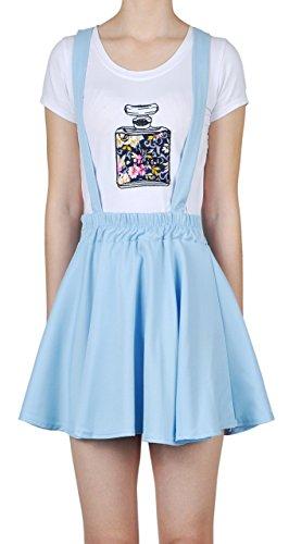 Womens Preppy Ruffle Chiffon Gallus Skirt (onesize, #0890_Light Blue)