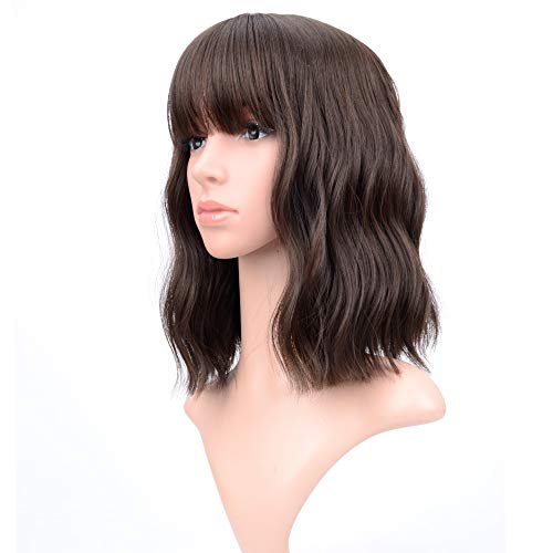 VCKOVCKO Short Bob Wigs Natural Black Wavy Wig With Air Bangs Women's Shoulder Length Wigs Curly Wavy Synthetic Cosplay Wig Pastel Bob Wig for Girl Colorful Wigs(12