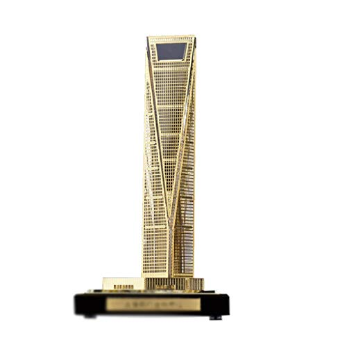 (Xiao Hong Home Statues Statue Desktop Decoration Shanghai World Financial Center Floor Model Building Model Company Crafts Gift Ornaments (Color : Gold, Size : 7.57.514.2cm))