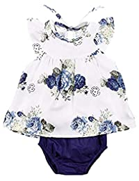SUPEYA Toddler Baby Girls Summer Floral Ruffled Dress Top+Solid Color Shorts Outfits