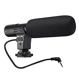 Camera Microphone, EIVOTOR Mic-01 3.5mm Digital Video Recording Microphone for D-SLR Camera, Black