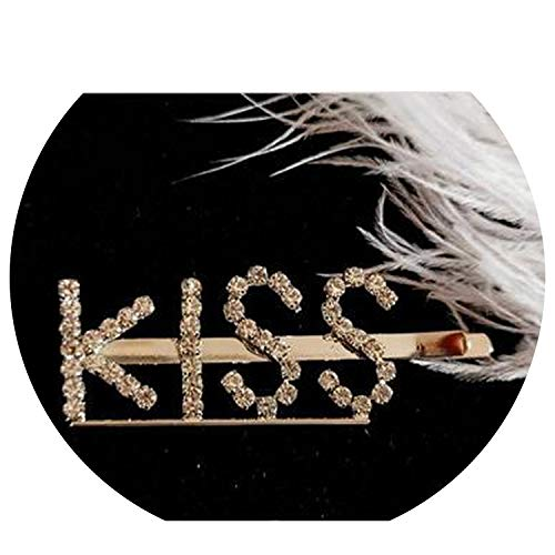 Girls Super Flash Rhinestone Hairpins Personality Word Clip Sexy Letter Hairpin Women Headwear,Kiss,Size Fits All for $<!--$17.78-->