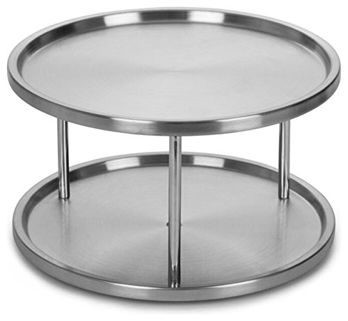 2 Tier Lazy Susan By Lovotex: Stainless Steel 360 Degree Turntable – Rotating 2-Level Tabletop Stand For Your Dining Table, Kitchen Counters And Cabinets – Turning Table Spice Rack Organizer Tray