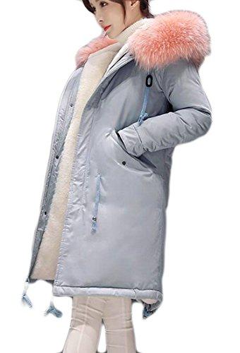 today-UK Womens Stylish Warm Parka Jacket Hooded Zipper Coats Faux Fur Coat Outdoor 3
