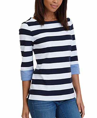NAUTICA WOMENS CHAMBRAY CASUAL CUFF TOP 3/4 SLEEVE TOP! (Large, Navy Stripe) (Dresses For Women Nautica)