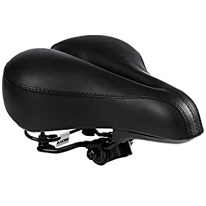 Zacro Gel Bike Saddle BS053 Dual Spring Designed Suspension Artificial Leather Bike Seat Bicycle Saddle with 1 Mounting Wrench (Black)