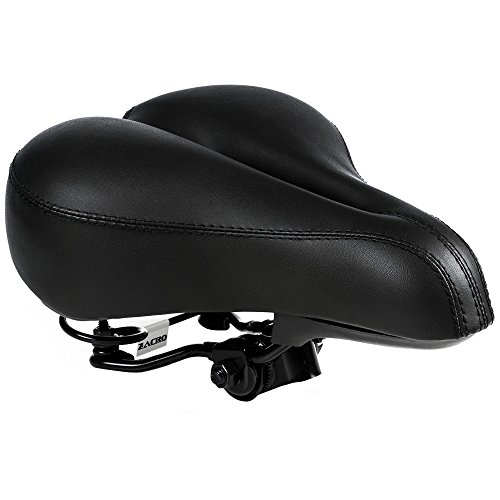 Zacro Gel Bike Saddle - BS053 Dual Spring Designed Suspension Artificial Leather Bike Seat Bicycle Saddle with 1 Mounting Wrench (Black) (Seat Black Bike)