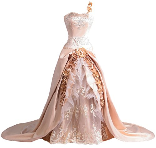 DressCustom Women's Luxury Handmade Flowers Royal Ball Gown Wedding Dress D39 (Champagne,26)