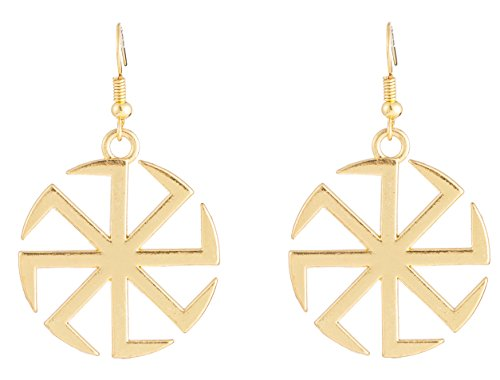 Gold Russian Jewelry (Slavic Kolovrat Amulet earrings for Russian women drop earrings new fashion jewelry (Old gold))
