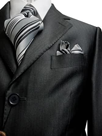 G. Fiorelli 3 Button Men's Suit Shiny Charcoal with Hidden Pinstripes and Single Pleated Pants (38R)