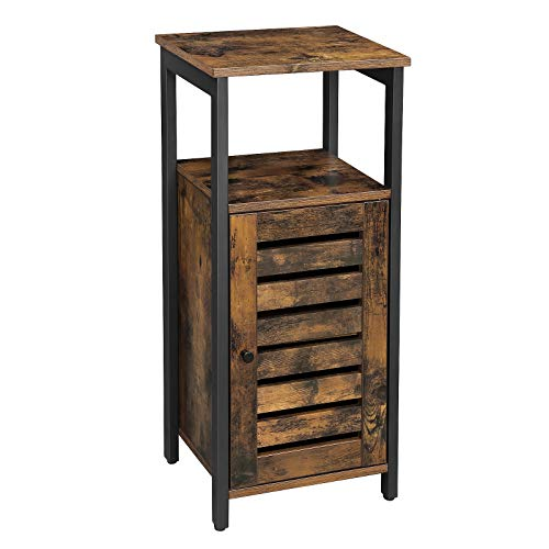 VASAGLE Industrial Bathroom Storage Cabinet, End Table, Storage Floor Cabinet with Shelf, Multifunctional in Living Room, Bedroom, Hallway, Rustic Brown ULSC34BX (Bathroom Vintage Furniture)