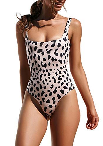 PRETTYGARDEN Women's Sexy One Piece High Cut Semi-backless Leopard Printed Bathing Suit Swimsuits Swimwear