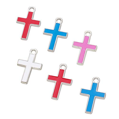 Craftdady 20Pcs Platinum Plated Alloy Enamel Cross Charms 26x16mm DIY Jewelry Necklace Earring Bracelet Craft Making Religious Cross Pendants with 3mm Hole