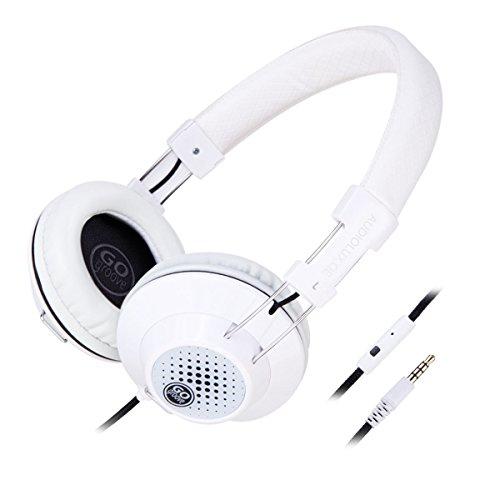 GOgroove AudioLUX Over Ear Headphones with Built-In Microphone - Noise Isolating , In-Line Playback Controls , Braided Nylon Cable & Adjustable Headband , Portable Design - White