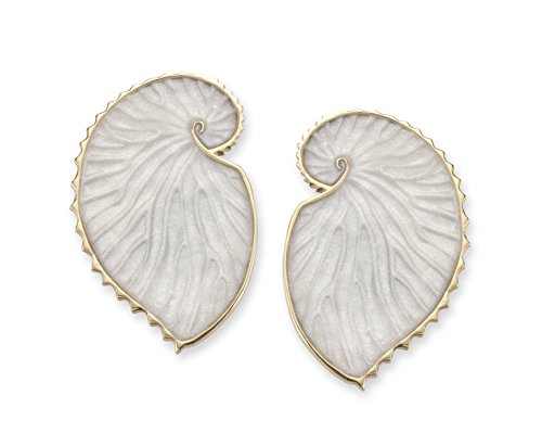 - Adina Plastelina 24K Gold Plated Silver (Vermeil) Nautilus Shell Stud Earrings with Pure Pearl Color Pattern