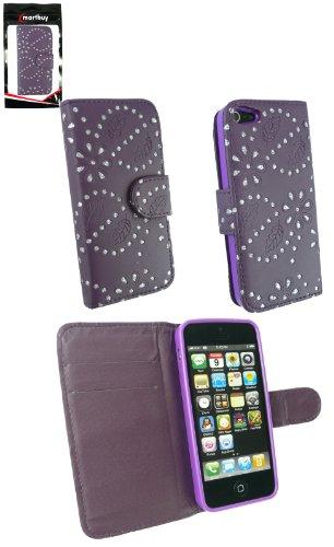Emartbuy® Apple Iphone 5 5S Diamante Cas / Étui / Housse / Poche Pourpre Avec Emplacements Pour Les Cartes De Crédit Porte-Monnaie