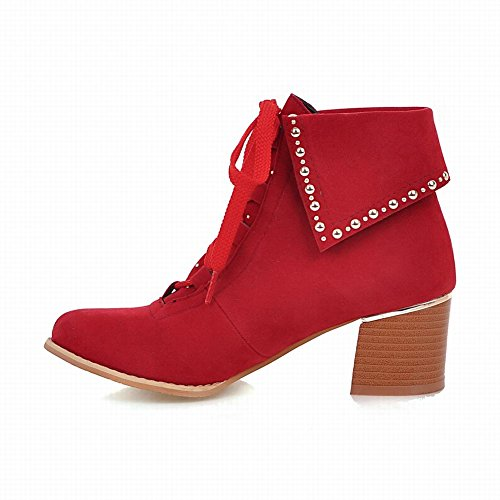 Carolbar Mujeres Lace Up Fashion Retro Tachonado Botas Cortas De Tacón Medio Rojo