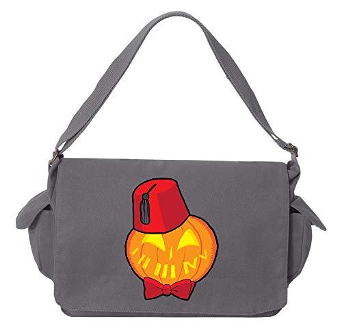 Tenacitee Timey Wimey Pumpkin Grey Brushed Canvas Messenger Bag -