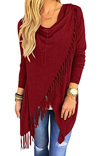 Sherosa Women Fall Tassels Hem Knitted Cardigan Loose Poncho Sweater Coat (Petite Sweater Button One)
