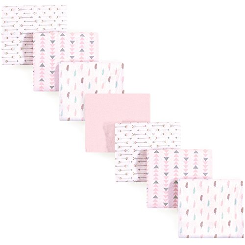 Luvable Friends Flannel 7 Piece Receiving Blanket, Girl Feathers, One Size