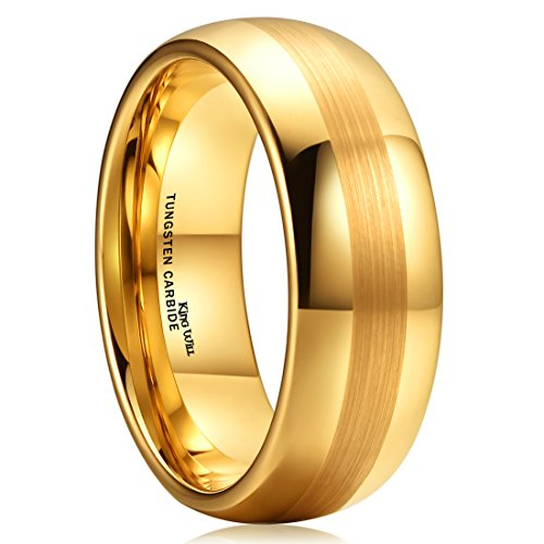 - King Will GLORY 8mm Gold Plated Tungsten Carbide Wedding Ring Dome Style Engagement Band For Unisex(9.5)