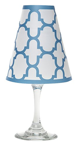 di Potter WS307 Nantucket Fret Paper White Wine Glass Shade, Isle Blue (Pack of 12) by di Potter
