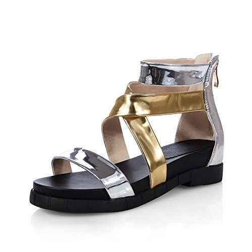 Amoonyfashion Mujer Solid Pu Low Heels Open Toe Zipper Sandals Gold
