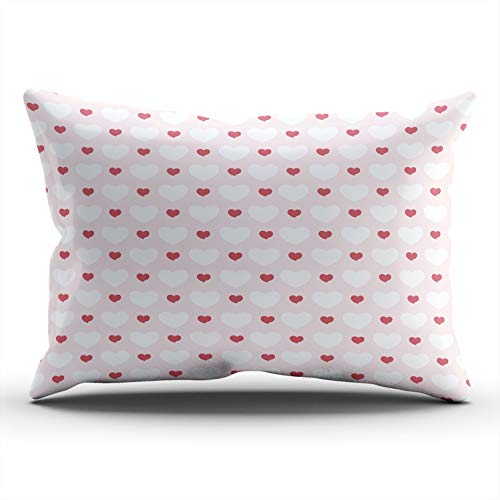 - ONGING Decorative Pillowcases Heart Love Pink and White Customizable Cushion Lumbar Size 12x24 Inch Throw Pillow Cover Case Hidden Zipper One Sided Design Printed