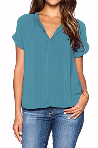 LILBETTER-Women-Chiffon-Blouse-V-Neck-Short-Sleeve-Top-Shirts