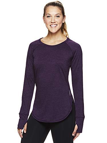 HEAD Women's Long Sleeve Workout T-Shirt - Performance Activewear Running & Gym Top - Tournament Purple Pennant Heather, Medium