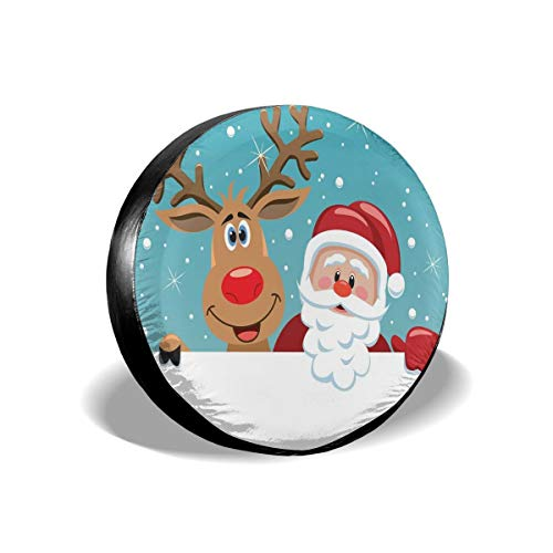 (GULTMEE Tire Cover Tire Cover Wheel Covers,Cute Rudolph Deer and Santa Claus Greeting The New Year Happily in Cartoon Style,for SUV Truck Camper Travel Trailer Accessories(14,15,16,17 Inch) 16)
