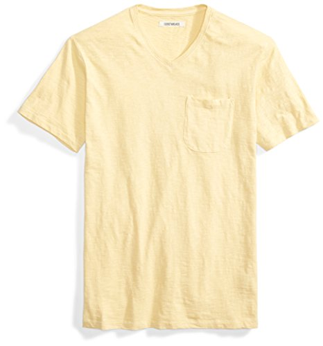Goodthreads Men's Short-Sleeve V-Neck Slub Pocket T-Shirt, Pampas/Yellow, XX-Large