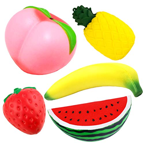 ONEONEY 5 Pcs Slow Rising Jumbo Peach Banana Watermelon Pineapple Strawberry Fruit Kawaii Squeeze Charms Party Supplies by ONEONEY