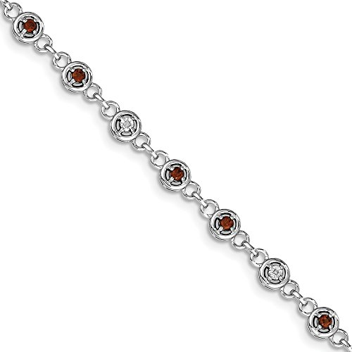 Sonia Jewels Sterling Silver Simulated Garnet & Diamond Bracelet 7