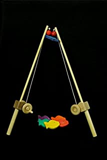 product image for My Unique Wooden Toys 1 Pole Kids Wooden Fishing Pole Hand-Eye Coordination Fun and Imaginative! Great for Developing Motor Skills and Wonderful for Both Girls and Boys. Maple Wood Pole