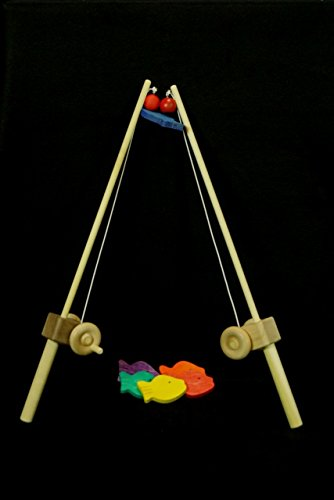 My Unique Wooden Toys 1 pole KIDS WOODEN FISHING POLE hand-eye coordination Fun and imaginative! Great for developing motor skills and wonderful for both girls and boys. Maple wood pole