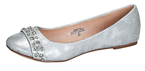 Baba-40 Women's Classic Casual Round Toe Ballet Comfort Soft Slip On Flats Shoes Silver 8