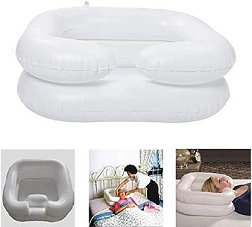 Xytton Lavacabezas Hinchable Lavabo Inflable de PVC para baño o Lavado Plegable portátil para Personas Mayores Embarazadas Pacientes postquirúrgicos inflado Seguro y cómodo 60 * 55cm