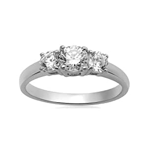 STERLING SILVER ROUND 3 STONE MADE WITH SWAROVSKI ZIRCONIA 1CTTW RING, Size 7