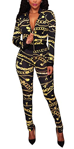 Knight Horse Womens 2 Pieces Outfits Gold Chain Print Prints Bodycon Sweatsuits Set Tracksuits Black Small