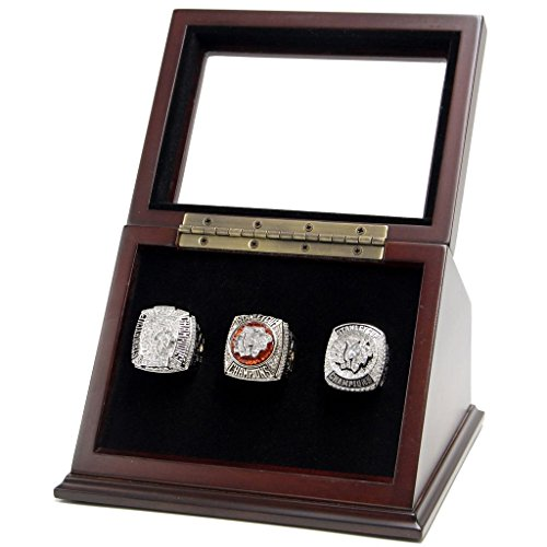 3 Slots Championship Rings Wooden Display case Shadow Box with Slanted Glass Window for Football Rings Basketball Hockey Sports Championship Rings - Rings are Not Included