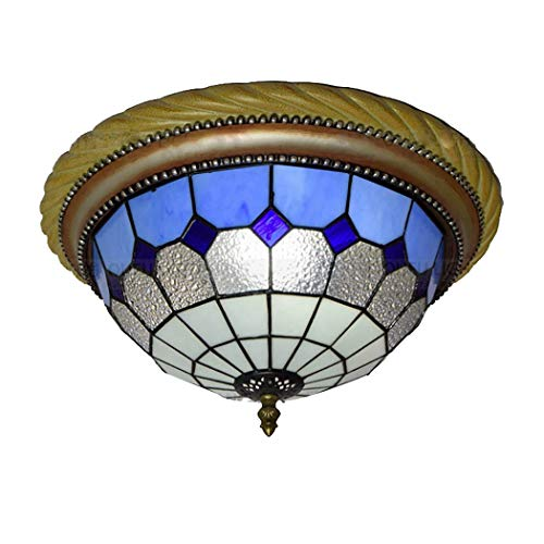 (Modern Ceiling Fixture Lamp Mediterranean Blue Diamond Colorful Glass Shade 2 Light Semi Flush Mount Pendant Hanging Light for Bedroom Foyer Aisle)