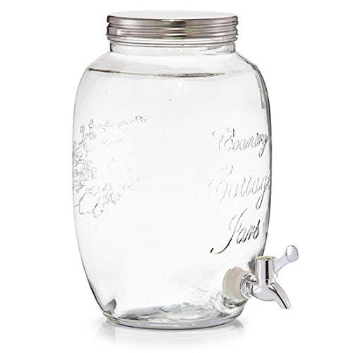 (382) Getränkespender Dispenser Behälter Glas Saftspender 3,0 Liter Zapfhahn DI-NESH®