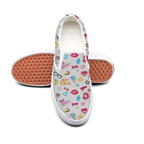 Cap pizza doughnut cat skull Womens Canvas Sneakers Slip-On Classic Retro ()
