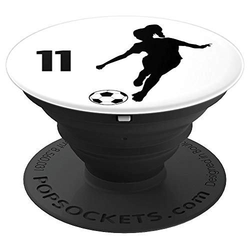 Number 11, #11, Soccer Gifts for Women, Girls, Teens, - PopSockets Grip and Stand for Phones and Tablets
