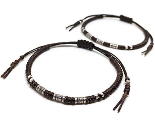 2 Piece BUSABAN Asian Handmade Bracelet 925 Silver Feather Beads Brown Wax String (Asian Silver Bracelet)