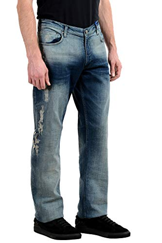(Versace Jeans Men's Ripped Stretch Classic Jeans US 38 IT 54 Blue)