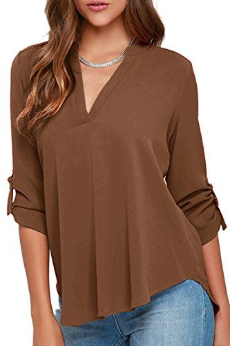 YMING Summer Chiffon Blouse for Women Loose Casual Shirt V Neck Top Coffee L ()