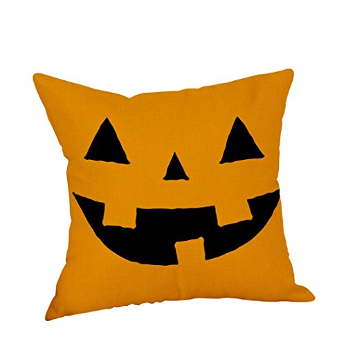 Halloween Pillow Cases, Keepfit Linen Sofa Cushion Cover Pumpkin, Ghosts, Trick or Treat and Witch Home Decor (18
