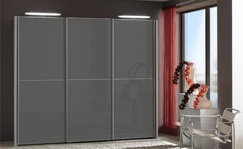 Armario de puertas correderas con puertas de cristal en colour gris grafito, estructura de madera de Colour plata, B/H/T de alrededor de 280/236/67 cm: Amazon.es: Hogar